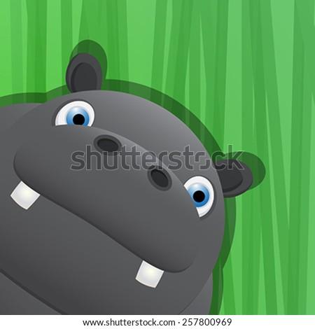 Funny hippo avatar icon for web - stock vector