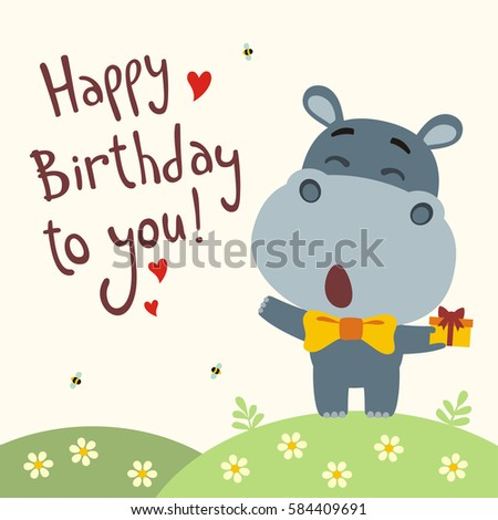 Funny hippo sings song happy birthday stock vector 584409691 funny hippo sings song happy birthday to you greeting card in cartoon style bookmarktalkfo Image collections