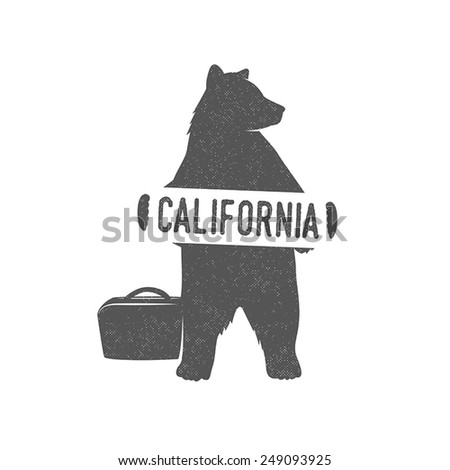 Funny hitchhiking bear with California sign - stock vector