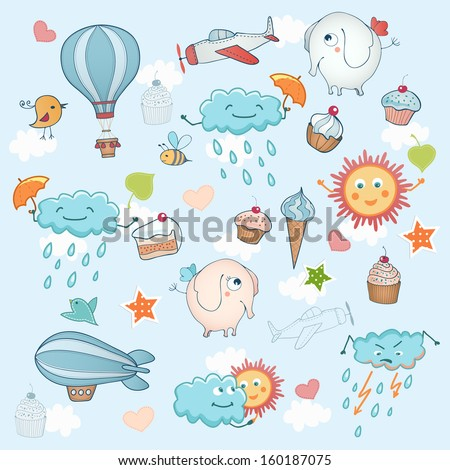 Funny holiday background. Cute cartoon animals for your design. - stock vector
