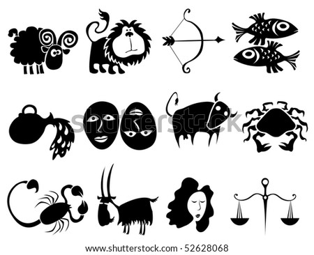 Funny horoscope figures - stock vector