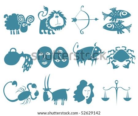 Funny horoscope in blue - stock vector