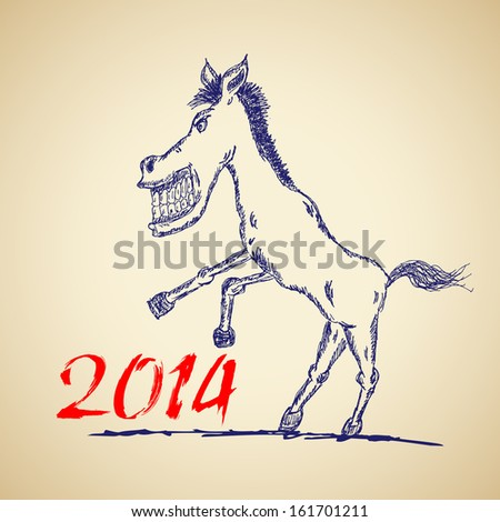 Funny horse sketch for your design, vector illustration, eps10. Glad to see you in my portfolio=) - stock vector