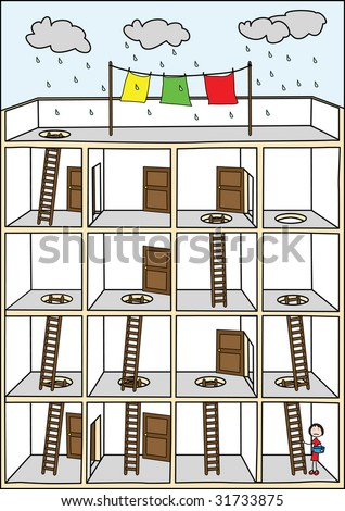Funny house maze for kids - stock vector