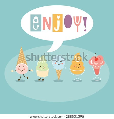 Funny Ice Cream - stock vector