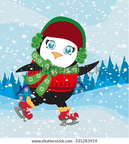 funny Ice Skating Penguin - stock vector