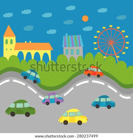 Funny illustration for kids with colorful cars in town. - stock vector