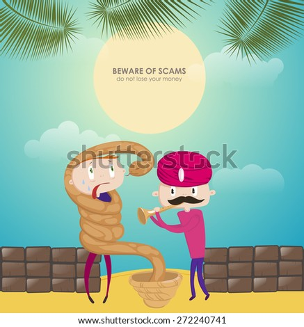 Funny illustration for the tourist. Cautions for the tourist. Funny situation on vacation. The Snake Charmer. Extortionist money. Street swindler thief. - stock vector