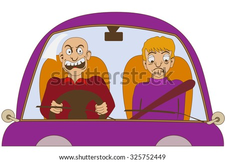 Funny illustration of a nervous driver without a seat belt is yelling at something, while his passenger is looking sad. - stock vector