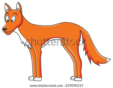 funny illustration of dingo dog on isolated background - stock vector