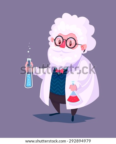 Funny  illustration of scientist cartoon character. Isolated vector illustration. - stock vector