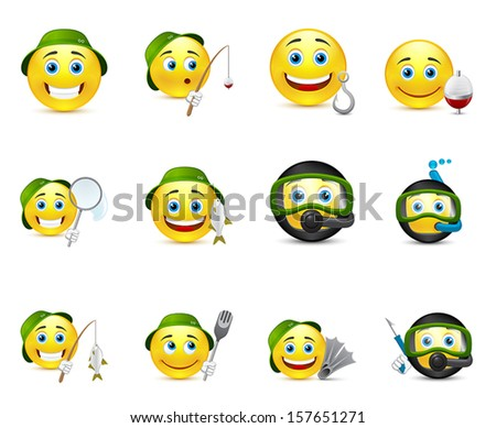 funny illustrations of emoticons whit different elements - stock vector