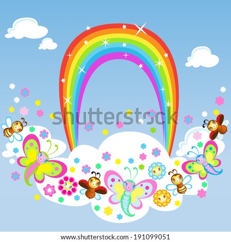 Funny insects dance around the Rainbow - stock vector