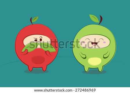 funny joke apple character in the Japanese style vector illustration - stock vector