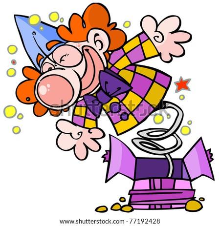 Funny jumping  clown. - stock vector