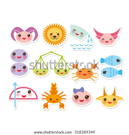 Funny Kawaii zodiac sign, astrological stiker set  virgo, aries, gemini, cancer, aquarius, taurus, leo, libra, sagittarius,  fish, capricorn, scorpio. Vector - stock vector