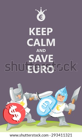 Funny Keep Calm Poster: Cartoon Currency Fighting. Vector Illustration with Funny Knights - stock vector