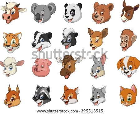 Funny kids animals.Vector illustration set of funny exotic animals. - stock vector
