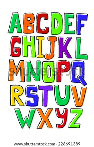 funny kids colored alphabet. Vector  - stock vector