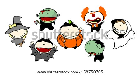Funny kids #73 - Halloween costumes - stock vector