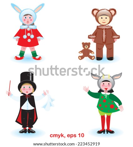 Funny kids in carnival costumes. Rabbit, goat, bear, magician. Vector set of graphical objects. - stock vector