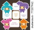 Funny kids in costumes of communication arrows - vector set - stock vector