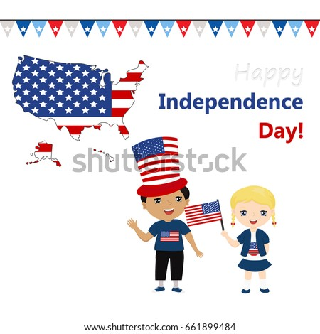 Funny Kids Us National Symbolism Independence Stock Vector Hd