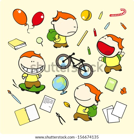 Funny kids #71 - schoolboy - stock vector