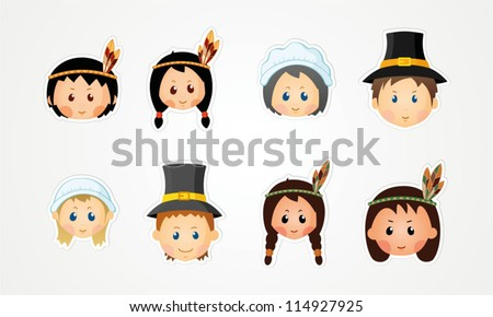 Funny kids - thanksgiving day - stock vector