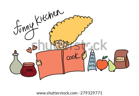 Funny kitchen. Illustration of cute little girl and cookbook. Template for design and decoration greeting cards - stock vector