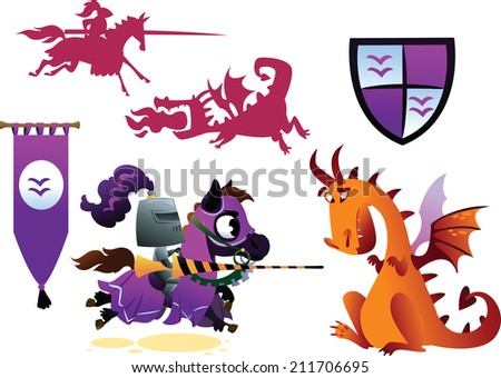 Funny Knight Riding a Horse and Cartoon Dragon - stock vector