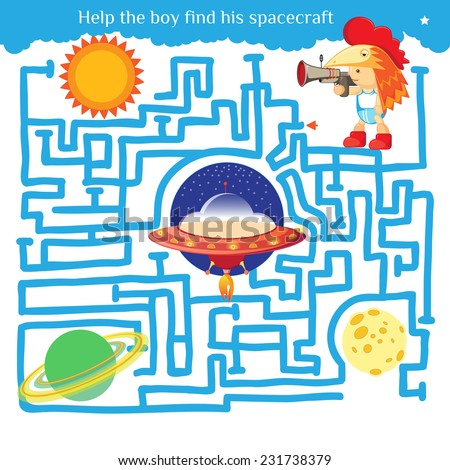 Funny labyrinth. Help the boy find his spacecraft and get out of the maze. Illustration with tangled lines. Funny cartoon character. Vector illustration. Isolated on white background - stock vector