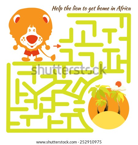 Funny labyrinth. Help the lion to get home in Africa and get out of the maze. Illustration with tangled lines. Funny cartoon character. Vector Rebus. Isolated on white background - stock vector