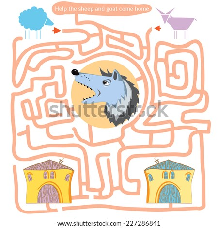 Funny labyrinth. Help the sheep and goat come home. Game save animals from the wolf. Illustration with tangled lines. Funny cartoon character. Vector illustration. Isolated on white background - stock vector