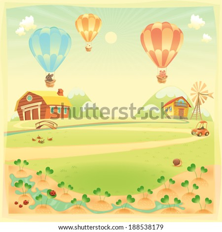 Funny landscape with farm and hot air balloons. Vector cartoon illustration