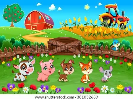 Funny landscape with farm animals. Cartoon vector illustration  - stock vector