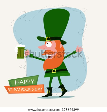 Funny Leprechaun holding beer mug and enjoying on occasion of Happy St. Patrick's Day celebration. - stock vector