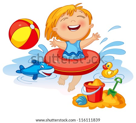 Funny little girl swims in a sea in an red life preserver. Happy child playing with sand at the beach in summer. Vector illustration. Icon - stock vector