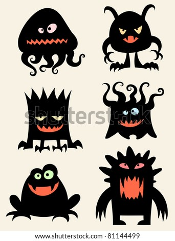 Funny little monsters - stock vector