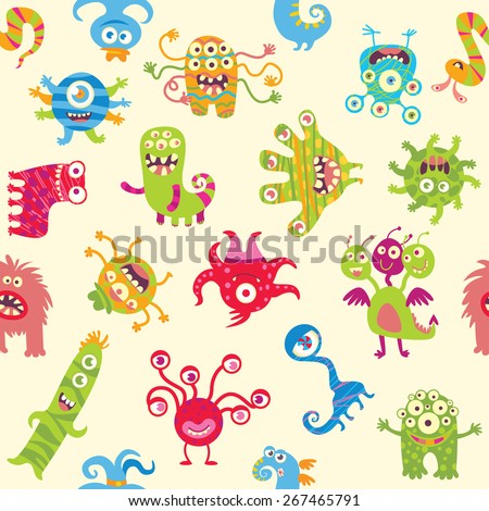 Funny little monsters. Seamless ornament. Funny cartoon character. Vector illustration