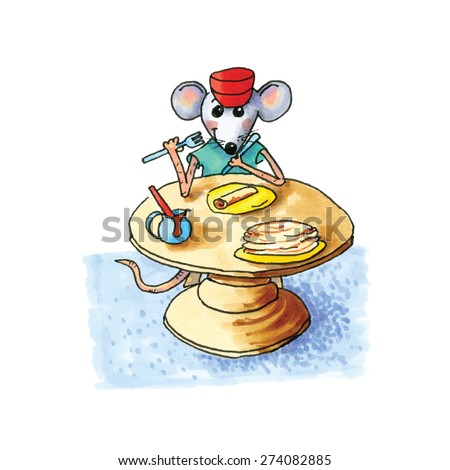 funny little mouse sitting at table and eating pancakes isolated over white background - stock vector
