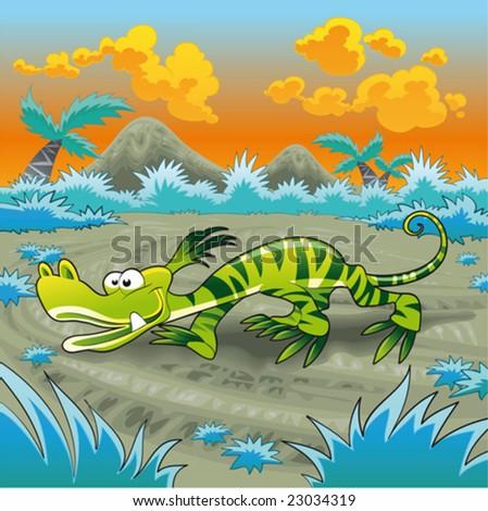 Funny lizard - stock vector