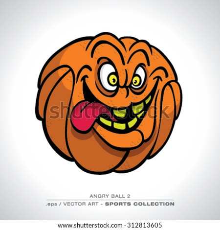 Funny looking Basketball Character with a Mad look Vector art - stock vector