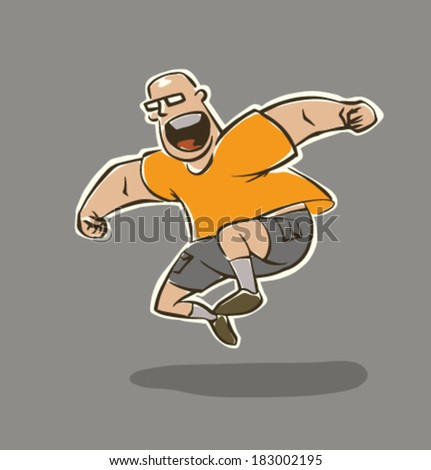 Funny man does sport exercises, vector - stock vector