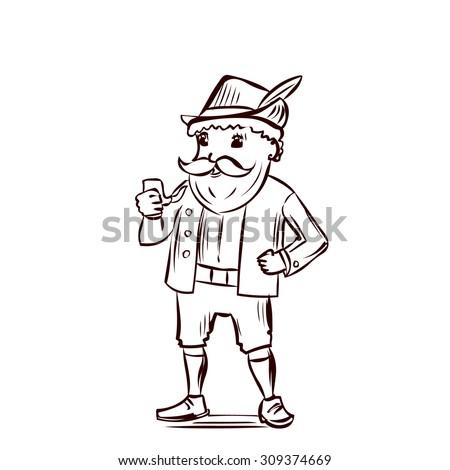 Funny man in traditional Bavarian costume. Hand drawn cartoon vector illustration - stock vector