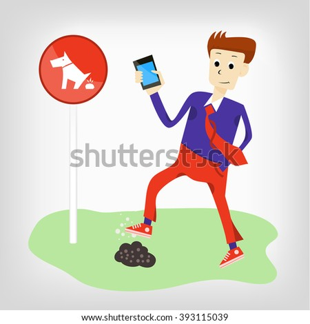 funny man with a phone comes in dog's Poo. sign prohibiting dog walking - stock vector