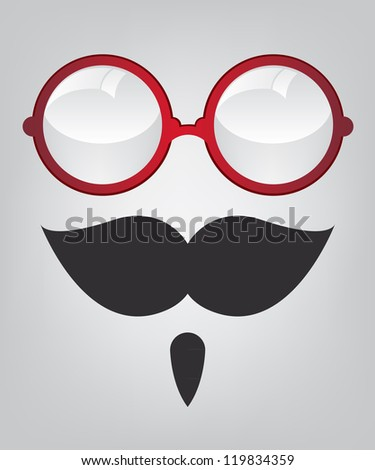 Funny mask red sunglasses and mustache - stock vector