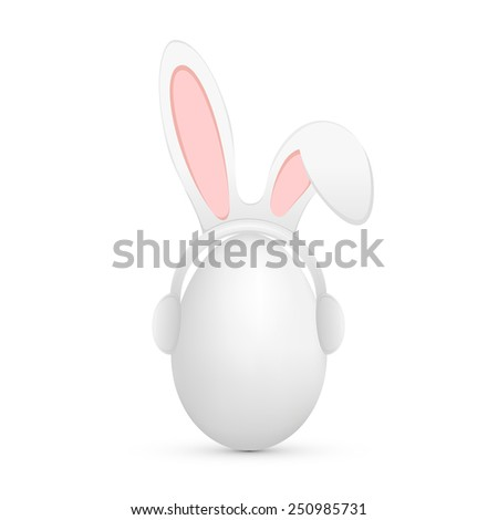Funny mask with rabbit ears on Easter egg, illustration. - stock vector