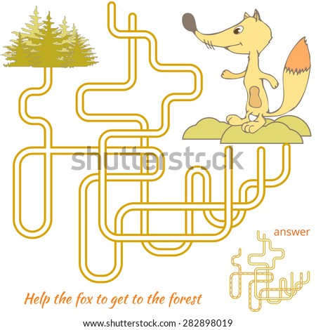 Funny Maze Game for kids. Maze or Labyrinth Game for Preschool Children. Maze puzzle with solution - stock vector