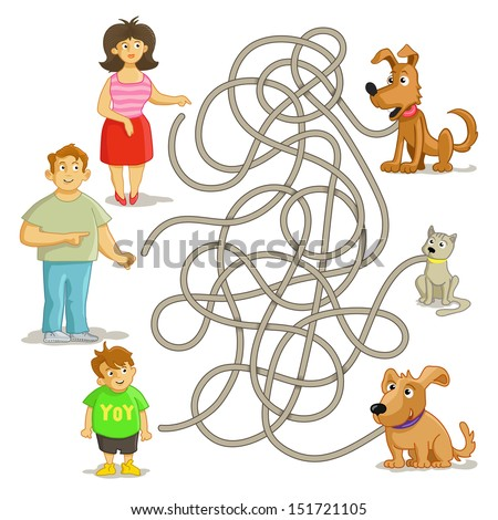 Funny maze game: help owners find their pets! Man, woman, boy, cat and two funny dogs. Illustration with tangled lines. - stock vector